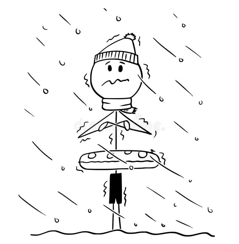Tecknad film av den kylde mannen eller det turist- anseendet i vatten i kallt väder ut ur säsong vektor illustrationer