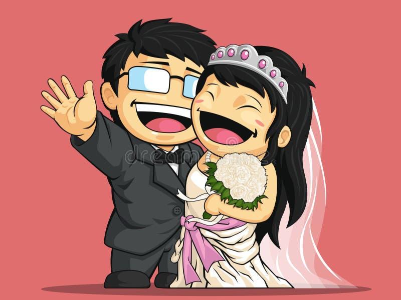 Tecknad film av den lyckliga den bröllopbruden & brudgummen stock illustrationer