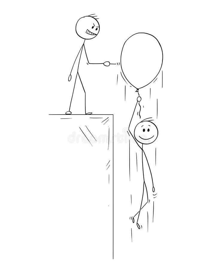Tecknad film av den lyckliga mannen eller affärsmannen Flying Up på den uppblåsbara ballongen medan konkurrent med Pin Is Ready s royaltyfri illustrationer