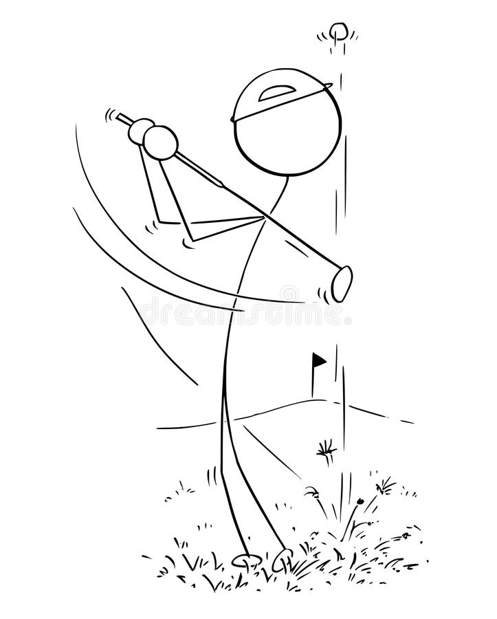 Tecknad film av den manliga golfspelaren royaltyfri illustrationer