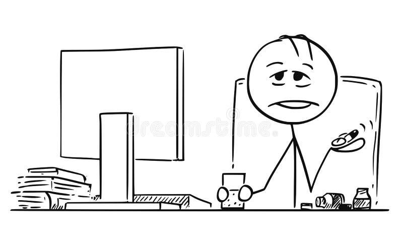 Tecknad film av den trötta eller sjuka kontorsarbetaren eller affärsmannen With Fistful av preventivpillerar stock illustrationer