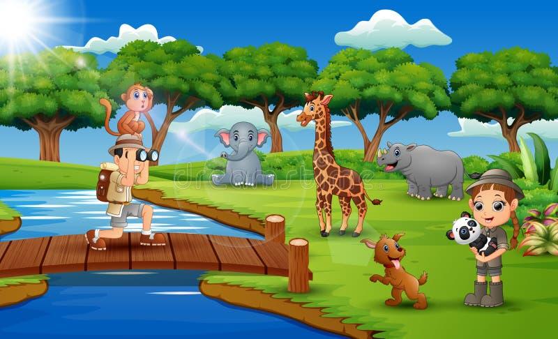 Tecknad film av den zookeeperpojken och flickan med djuret i djungeln vektor illustrationer