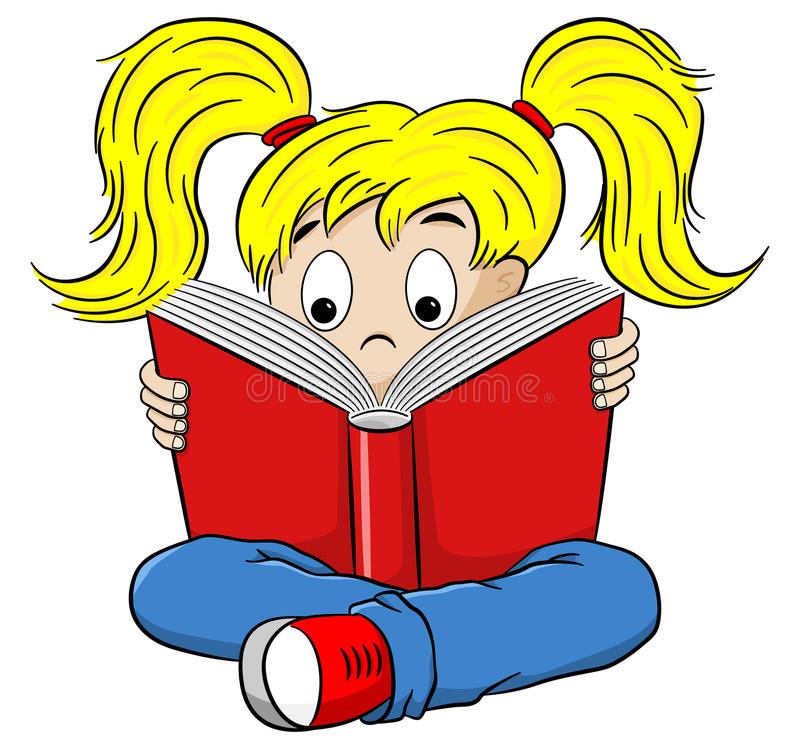 Tecknad film av ett hänfört läst barn stock illustrationer