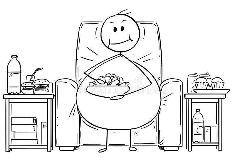 Tecknad film av fett eller överviktigt mansammanträde på fåtöljen, hållande ögonen på tv och att äta stock illustrationer