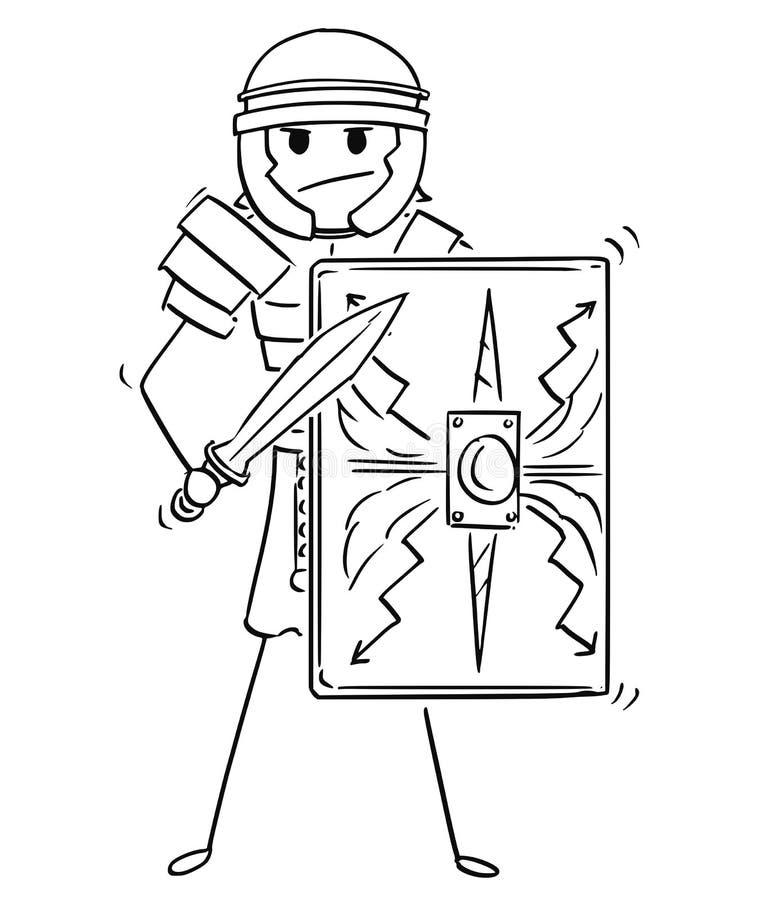 Tecknad film av forntida Roman Legionary Warrior Soldier vektor illustrationer