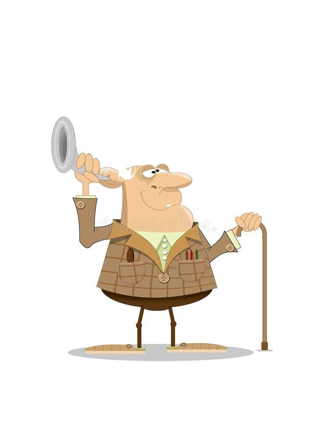 Tecknad film av gamala mannen som rymmer en hörapparat till hans öra royaltyfri illustrationer