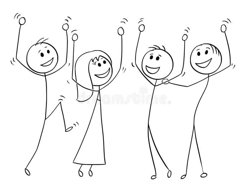 Tecknad film av grupp människor som firar framgång royaltyfri illustrationer