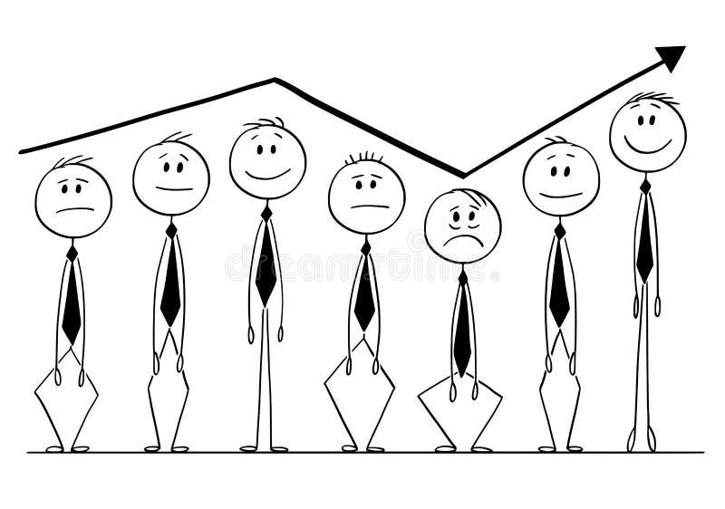 Tecknad film av gruppen av affärsmän som upp och ner stiger med pilen av grafen vektor illustrationer