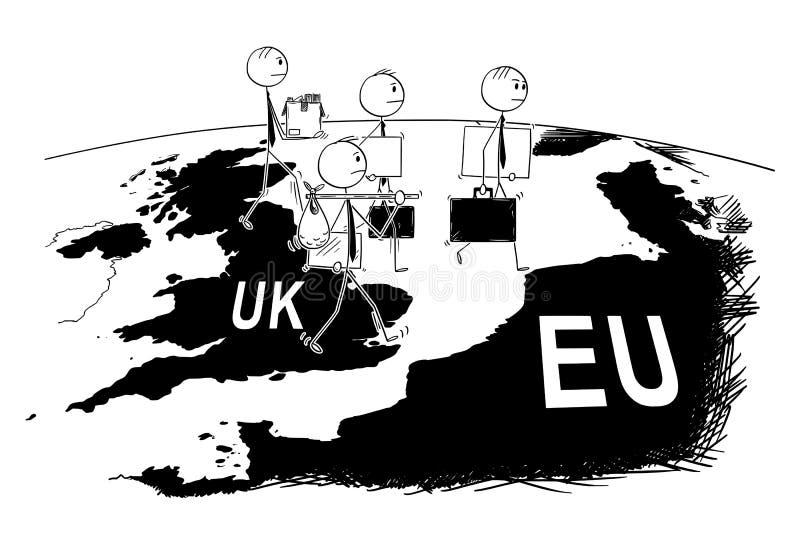 Tecknad film av gruppen av affärsmannen Leaving UK till Europa under Brexit stock illustrationer