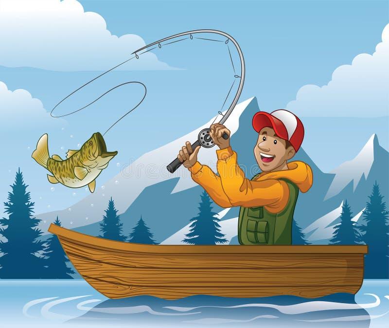 Tecknad film av manfiske i fartyg royaltyfri illustrationer