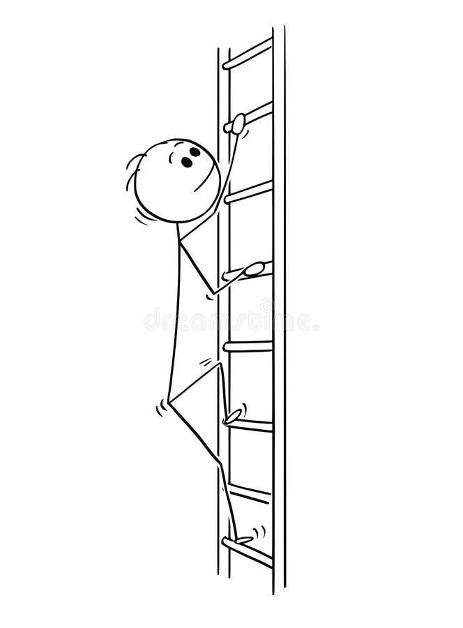 Tecknad film av mannen eller affärsmannen Climbing Up Ladder royaltyfri illustrationer