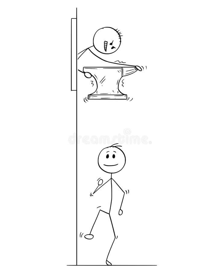 Tecknad film av mannen eller affärsmannen Dropping järnstädet på hans konkurrent royaltyfri illustrationer