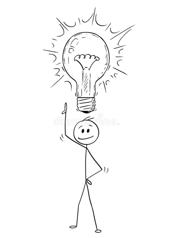 Tecknad film av mannen eller affärsmannen With Idea och glänsande ljus kula ovanför hans huvud vektor illustrationer