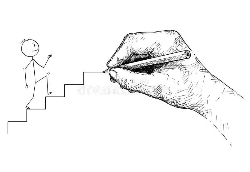 Tecknad film av mannen eller affärsmannen Walking Up trappan och den stora handen som drar vägen för honom stock illustrationer