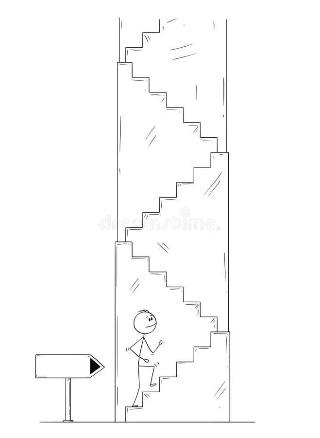 Tecknad film av mannen eller affärsmannen Walking Up trappan, tom riktning för pilteckenvisning stock illustrationer
