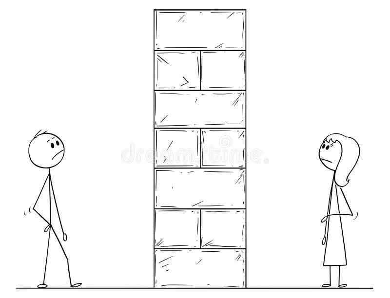 Tecknad film av mannen och kvinnan som delas av hinder för hög vägg royaltyfri illustrationer