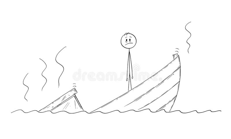 Tecknad film av mannen, politikern eller affärsmannen Standing Depressed på det sjunkande fartyget royaltyfri illustrationer