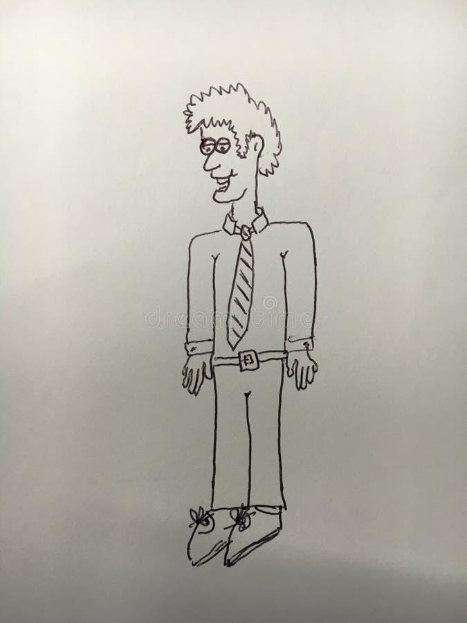 Tecknad film av mannen som bär en skjorta och ett band royaltyfria bilder