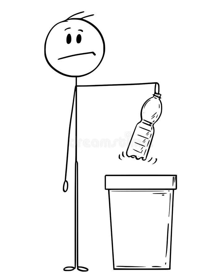 Tecknad film av mannen som rymmer en plast- ÄLSKLINGS- flaska klar att kasta den i förlorat fack royaltyfri illustrationer