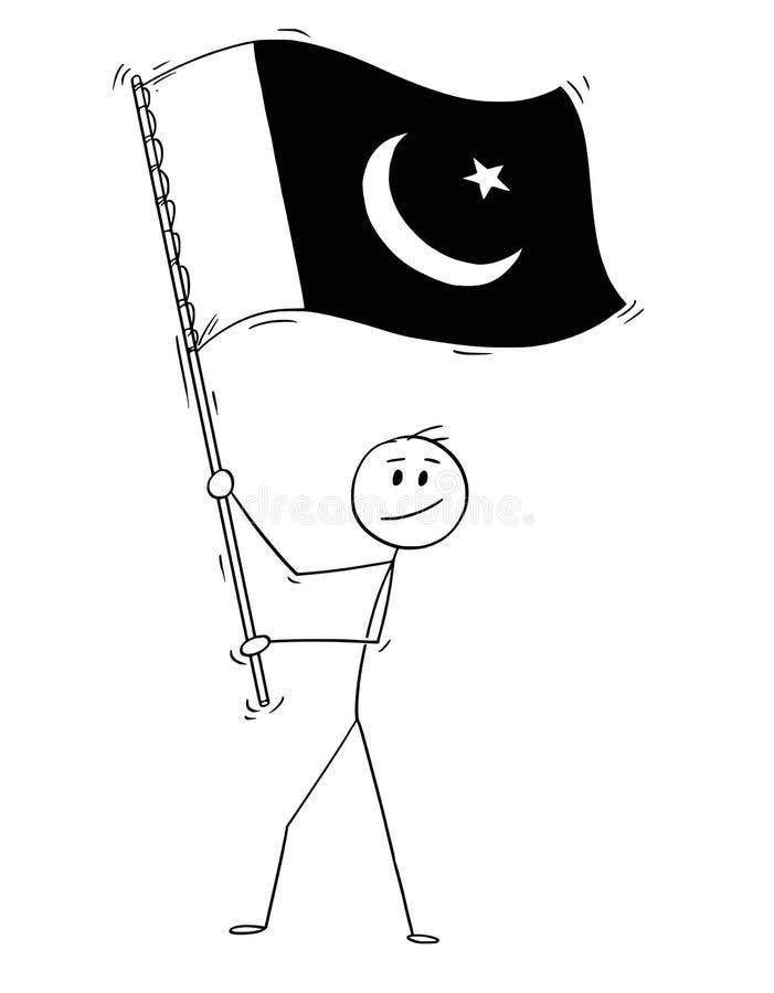 Tecknad film av mannen som vinkar flaggan av islamiska Republiken Pakistan vektor illustrationer
