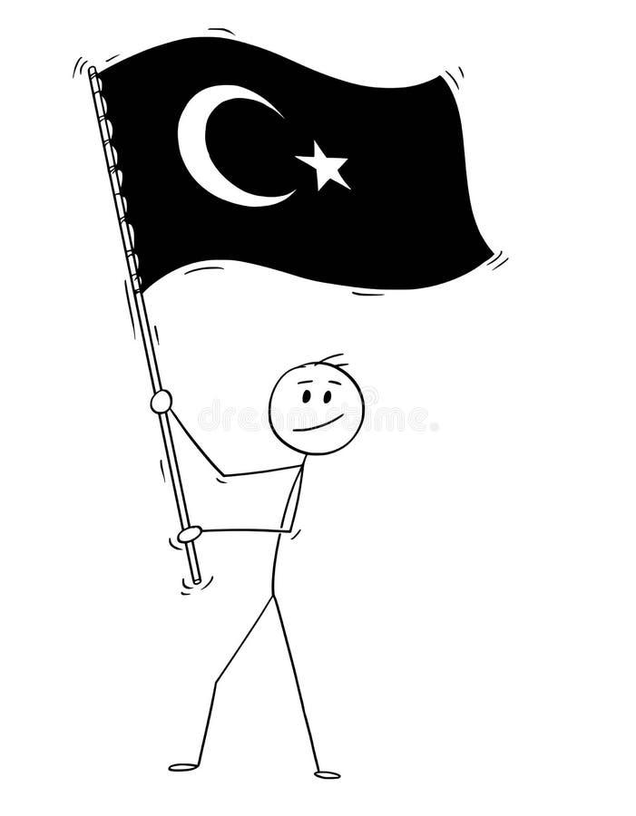 Tecknad film av mannen som vinkar flaggan av Republiken Turkiet royaltyfri illustrationer