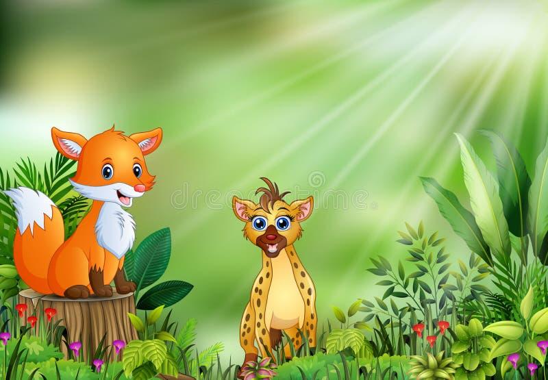Tecknad film av naturplatsen med en räv som sitter på trädstubbe och hyena vektor illustrationer