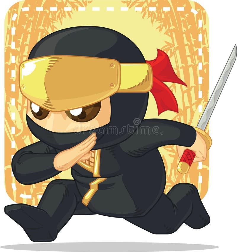 Tecknad film av Ninja Holding Japanese Sword royaltyfri illustrationer
