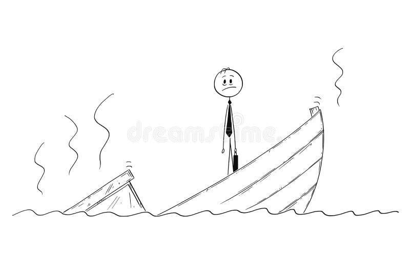 Tecknad film av politikern eller affärsmannen Standing Depressed på det sjunkande fartyget stock illustrationer