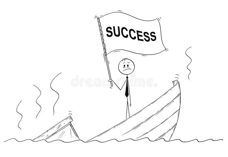 Tecknad film av politikern eller affärsmannen Standing Depressed på det sjunkande fartyget som vinkar flaggan med framgångtext royaltyfri illustrationer