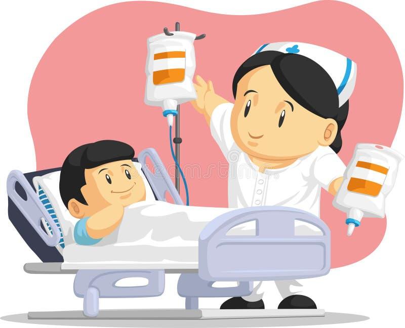 Tecknad film av sjuksköterskan Helping Child Patient vektor illustrationer