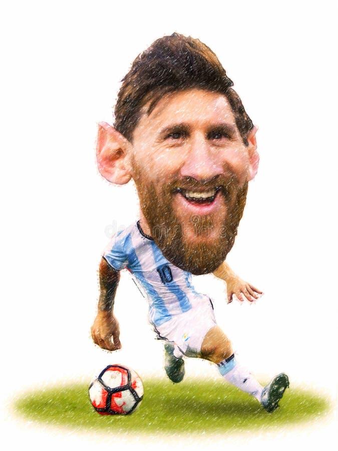 Tecknad film av tider för Lionel Messi störst fotbollsspelare allra arkivbilder