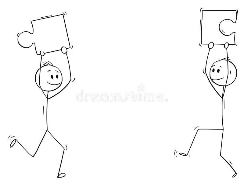 Tecknad film av två män eller affärsmän som rymmer pusselstycken stock illustrationer