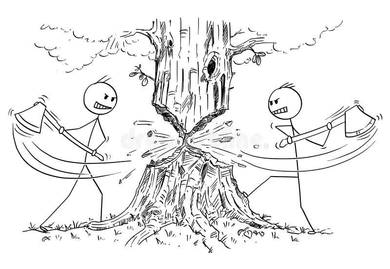 Tecknad film av två skogsarbetare med yxa som klipper ner träd från motsatta sidor vektor illustrationer