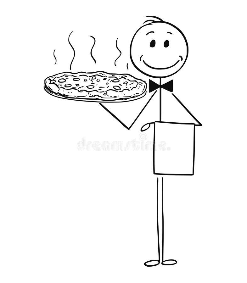 Tecknad film av uppassaren Holding Silver Plate eller magasinet med pizza vektor illustrationer