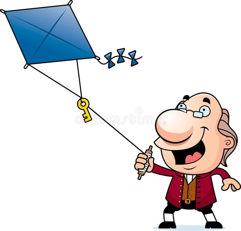 Tecknad film Ben Franklin Kite stock illustrationer