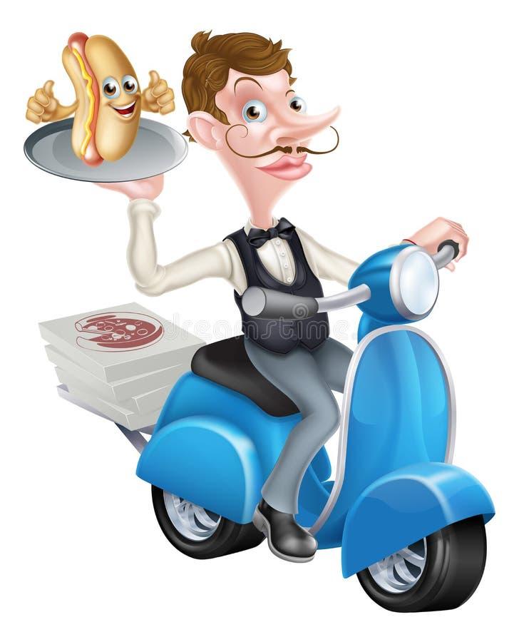 Tecknad film Butler på den var nedstämd sparkcykeln leverera varmkorven stock illustrationer