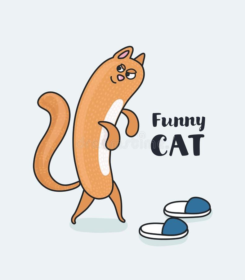 Tecknad film Cat Footwear Spoils royaltyfri illustrationer