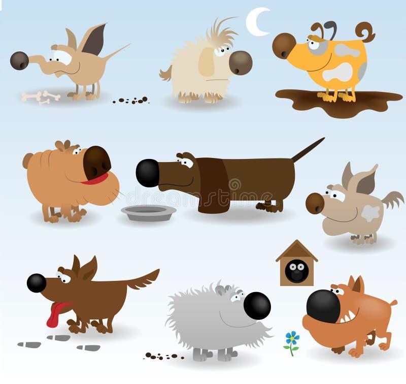 tecknad film dogs den roliga seten royaltyfri illustrationer