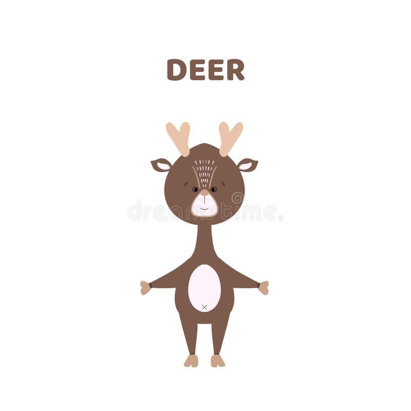 Tecknad film en gullig och rolig hjort stock illustrationer