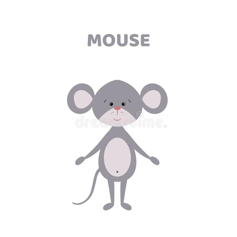 Tecknad film en gullig och rolig mus stock illustrationer