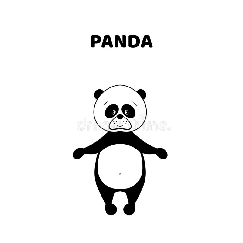 Tecknad film en gullig och rolig panda vektor illustrationer