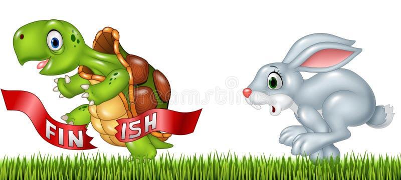 Tecknad film en sköldpaddaseger loppet mot en kanin vektor illustrationer