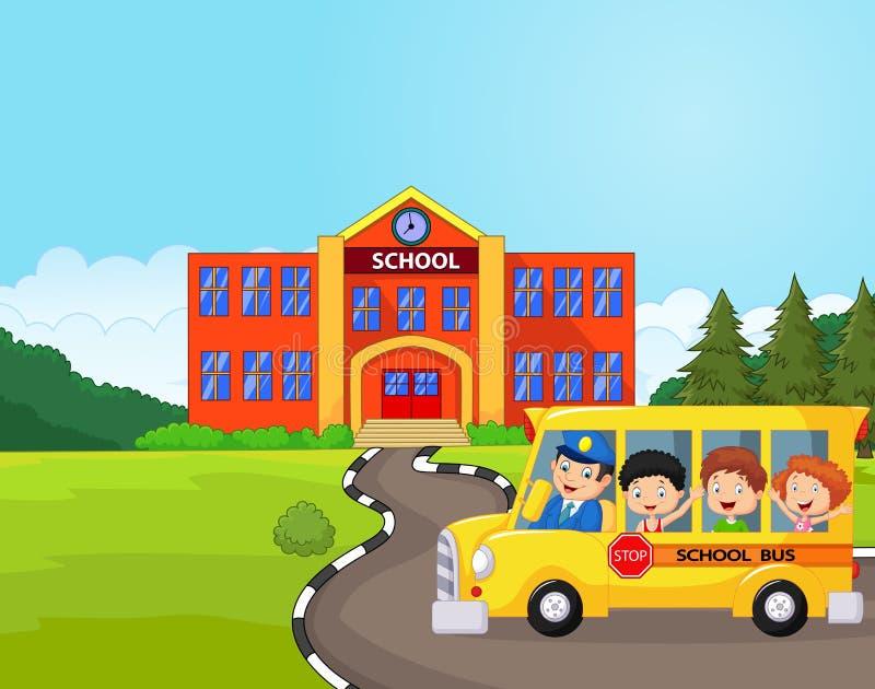 Tecknad film en skolbuss och ungar framme av skolan stock illustrationer