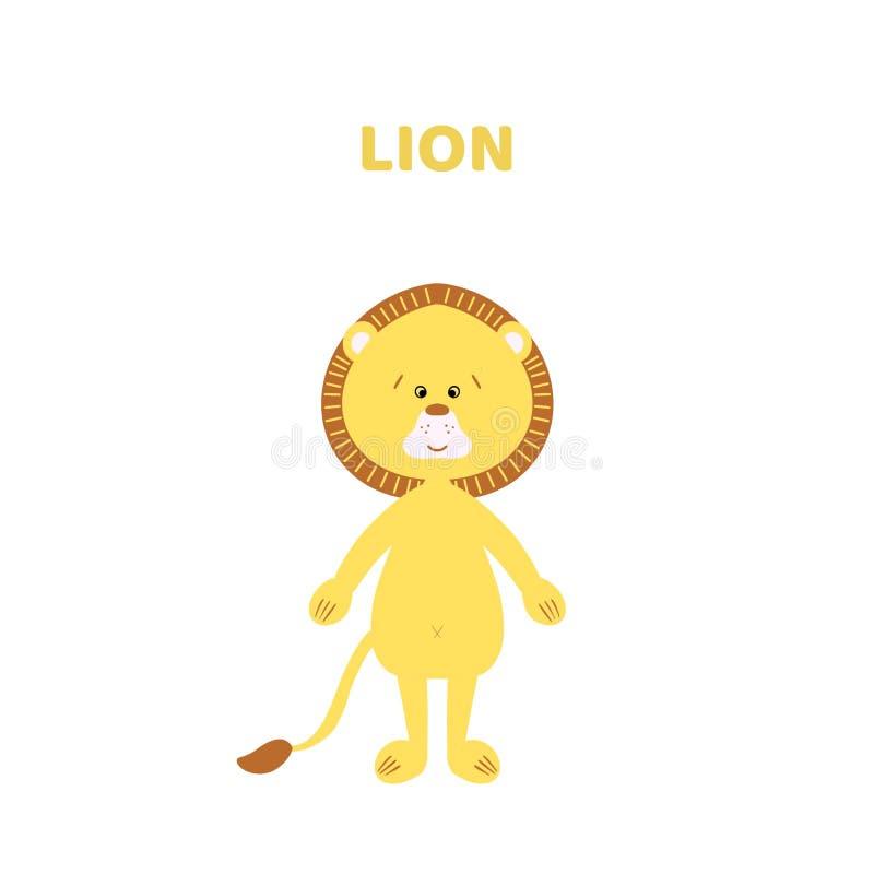 Tecknad film ett gulligt och roligt lejon royaltyfri illustrationer