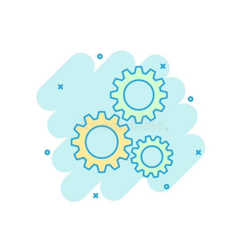 Tecknad film färgad kugghjulsymbol i komisk stil Kugghjulillustration vektor illustrationer