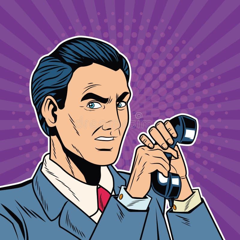 Tecknad film för affärsmanpopkonst stock illustrationer