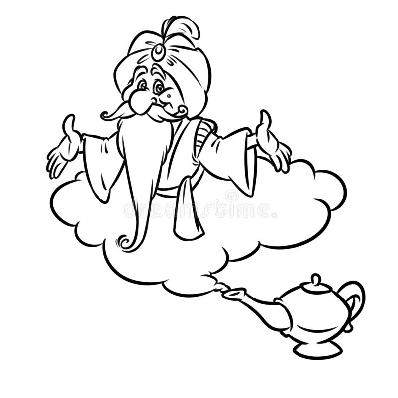 Tecknad film för Aladdin Magic Lamp Jin gammal trollkarlmoln vektor illustrationer