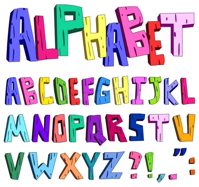 tecknad film för alfabet 3d stock illustrationer