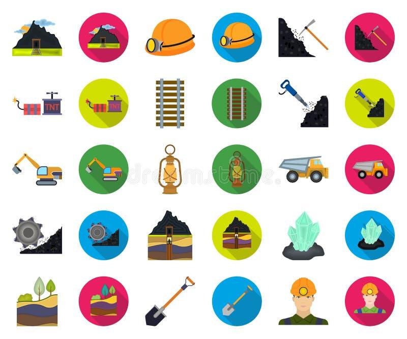Tecknad film för bryta bransch, plana symboler i den fastställda samlingen för design Rengöringsduk för materiel för utrustning-  royaltyfri illustrationer