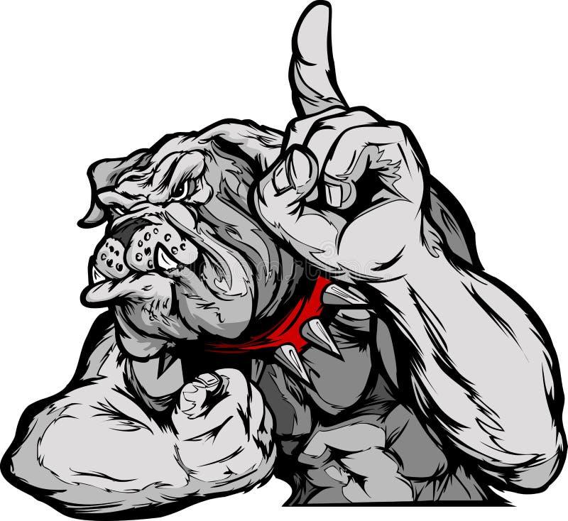 Tecknad film för bulldoggmaskothuvuddel stock illustrationer